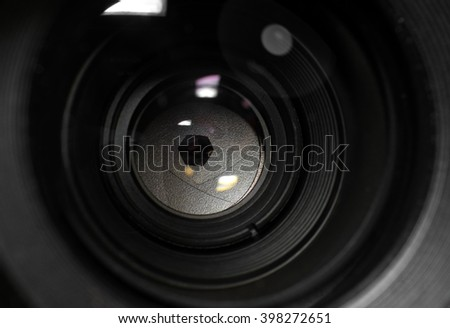lens aperture closeup and reflexes - stock photo