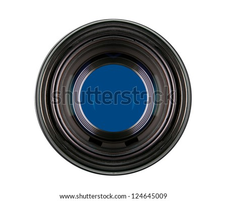 Lens camera on white - stock photo