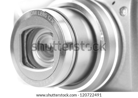 Lens close-up with blur - stock photo