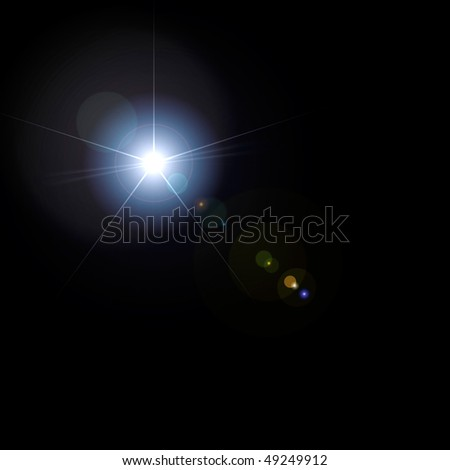 Lens flare artistic effect isolated on black background - stock photo