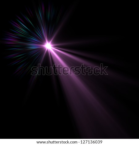 Lens flare over black background. Vector - stock photo