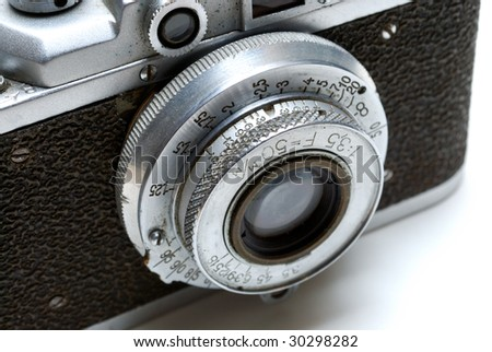 lens of the old camera isolated on white background
