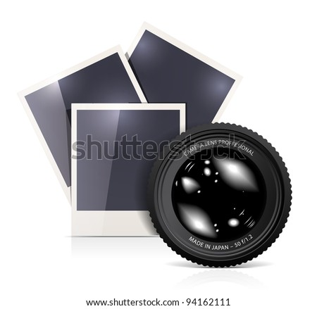 Lens with photo frame on white background. Vector illustration - stock photo