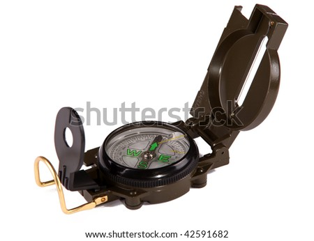 Lensatic compass. Military style compass against white background - stock photo