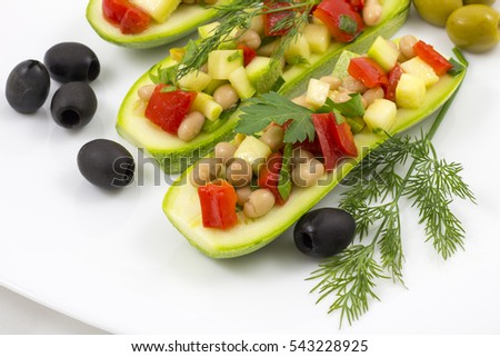 Lent vegetable salad with zucchini
