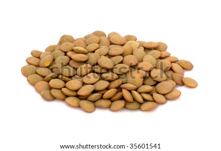 Lentil beans isolated on white - stock photo