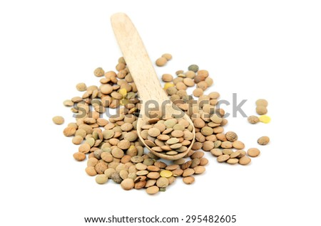 lentil in spoon isolated on white background  - stock photo