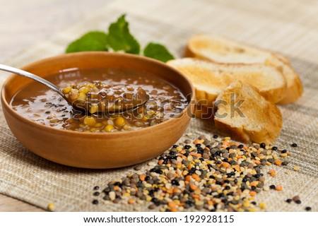 Lentil soup. Selective focus, shallow depth. - stock photo