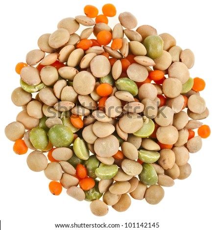 lentil Split Mix Isolated on White Background - stock photo