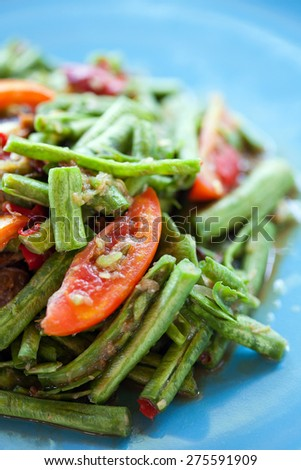 lentils salad spicy with crab thaifood - stock photo