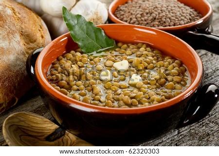 lentils soup on bowl - stock photo