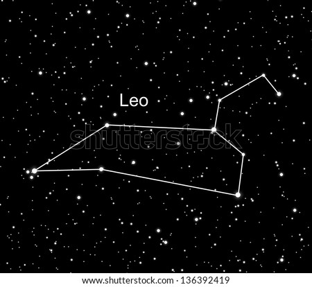 leo constellation with the shine stars in universe