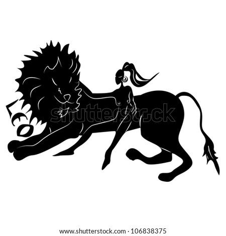Leo/Elegant zodiac signs silhouettes isolated on white - stock photo