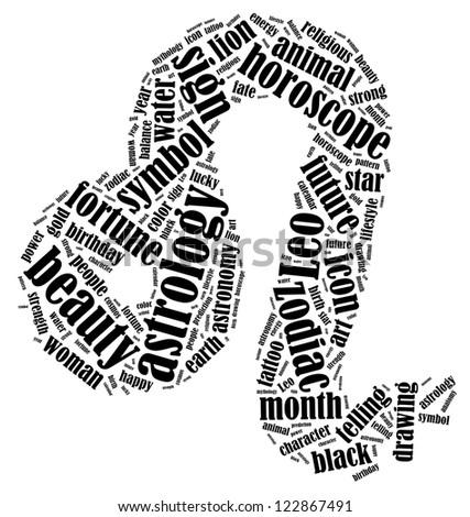 Leo zodiac info-text graphics composed in Leo zodiac sign shape on white background - stock photo