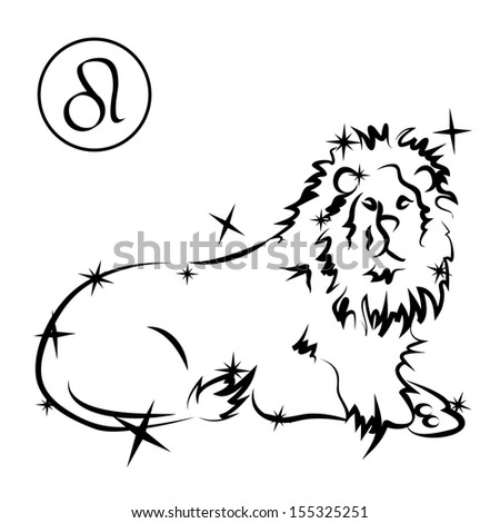 Leo/Zodiac sign made of stars in black and white, isolated on white background  - stock photo