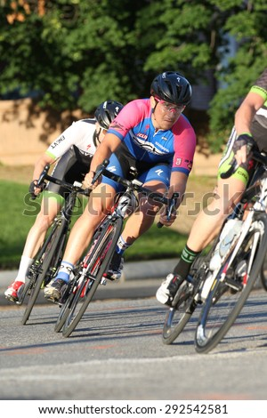 Leominster MA : Cyclists compete in the Longsjo Classic Criterium, a circuit race on closed course on June 26 2015 in Leominster MA
