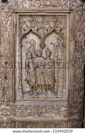 Leon Cathedral. Detail of the door of San Juan Bautista - stock photo