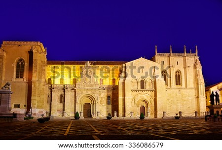 Leon San Isidoro church sunset by the way of saint James at Castilla Spain