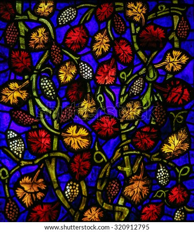LEON, SPAIN - JULY 17, 2014: Stained glass window in the cathedral of Leon, Castille and Leon, Spain. - stock photo