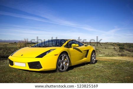 LEON, SPAIN - NOVEMBER 15: A Lamborghini Gallardo participating in the 4th concentration of the International Asociation of Supercars on November 15, 2012 in Leon, Spain - stock photo