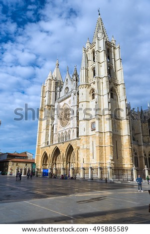 LEON, SPAIN - OCTOBER 16, 2016: Gothic Cathedral of Leon, Castilla Leon, Spain.