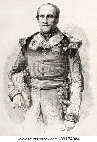 Leonard Charner old engraved portrait, French admiral. Created by Bayard, published on L'Illustration, Journal Universel, Paris, 1860