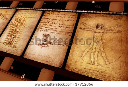 Leonardo Da Vinci art with vintage film - stock photo