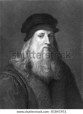 Leonardo Da Vinci (1452-1519). Engraved by J.Pofselwhite and published in The Gallery of Portraits with Memoirs encyclopedia, United Kingdom, 1833. - stock photo