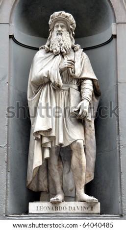 Leonardo Da Vinci Statue in Florence - stock photo