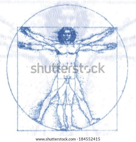 Leonardo Da Vinci Vitruvian Man shown in grid of number 1, one and 0, zero - stock photo