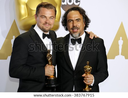 Leonardo DiCaprio and Alejandro Gonzalez Inarritu at the 88th Annual Academy Awards - Press Room held at the Loews Hollywood Hotel in Hollywood, USA on February 28, 2016. - stock photo