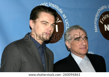 """Leonardo DiCaprio and Martin Scorsese at the Friends Of NPI To Hold Pre-Screening Of """"The Aviator"""" held at the Egtptian Theater in Hollwood on December 2, 2004. - stock photo"""
