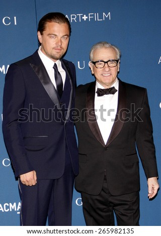 Leonardo DiCaprio and Martin Scorsese at the LACMA 2013 Art + Film Gala Honoring Martin Scorsese And David Hockney held at the LACMA in Los Angeles on November 2, 2013 in Los Angeles, California.