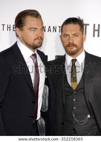 Leonardo DiCaprio and Tom Hardy at the Los Angeles premiere of 'The Revenant' held at the TCL Chinese Theatre in Hollywood, USA on December 16, 2015. - stock photo