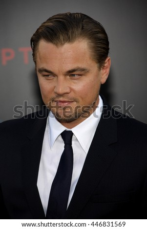 Leonardo DiCaprio at the Los Angeles premiere of 'Inception' held at the Grauman's Chinese Theater in Los Angeles, USA on July 13, 2010.