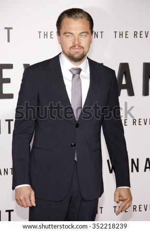 Leonardo DiCaprio at the Los Angeles premiere of 'The Revenant' held at the TCL Chinese Theatre in Hollywood, USA on December 16, 2015. - stock photo