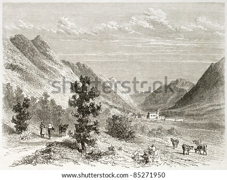 Leoncel old view, France. Created by Girardet after Muston, published on Le Tour du Monde, Paris, 1860 - stock photo