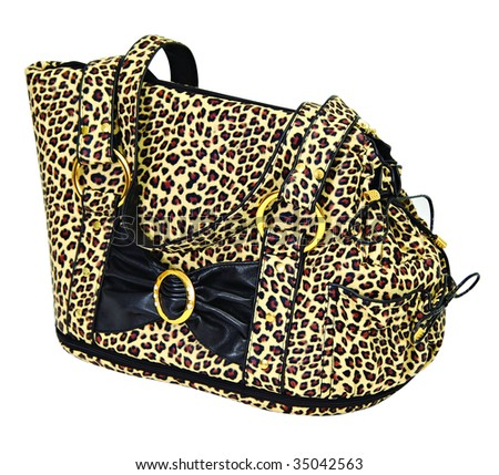 Leopard cloured bag for dog isolated on white