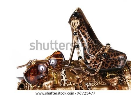 leopard handbag, shoe, sunglasses and golden necklace isolated on white - stock photo