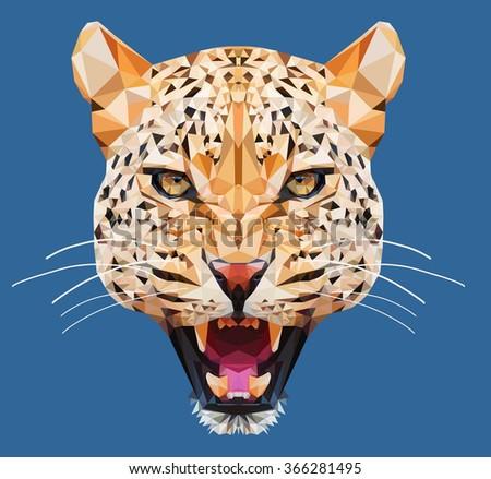 Leopard low poly portrait.Polygonal animal  - stock photo