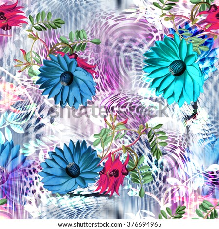 leopard rounds silk scarf design, fashion textile pattern - stock photo