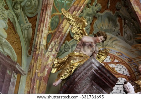 LEPOGLAVA, CROATIA - SEPTEMBER 21: Angel, altar in parish Church of the Immaculate Conception of the Virgin Mary in Lepoglava on September 21, 2014 - stock photo