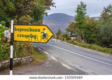 Leprechaun crossing, Ireland - stock photo