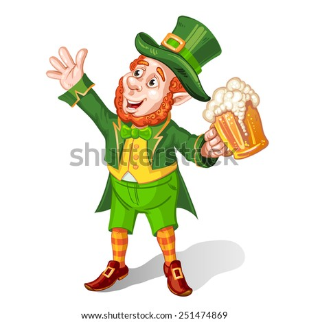 Leprechaun Drinking Beer-St. Patrick's Day Cartoon - stock photo