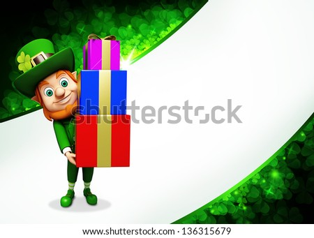 Leprechaun for Patrick day on green background