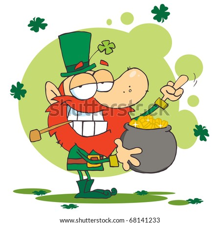 Leprechaun Holding A Pot Of Gold And Flipping His Middle Finger