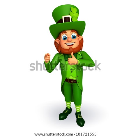 Leprechaun stands for patricks day with best luck sign