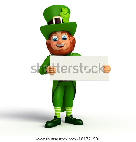 Leprechaun stands with signs for patricks day