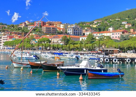 Lerici harbor and small boats tied by the shore, Italy