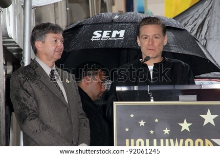 Leron Gubler and Bryan Adams at Bryan Adams Star on the Walk of Fame Ceremony, Hollywood , CA. 03-21-11 - stock photo